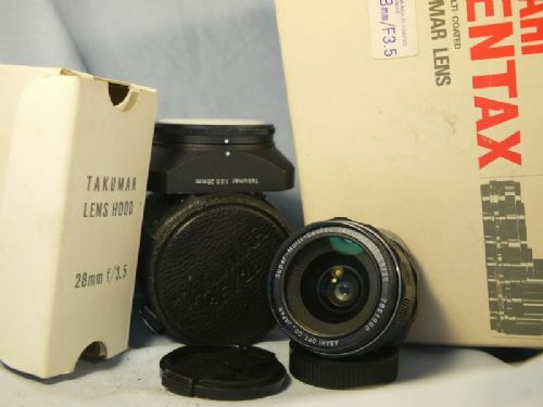 '       28mm F3.5 SMC TAKUMAR CASED SET -BOXED + HOOD GREAT BOKEH- ' Pentax SMC Takumar M42 28MM F3.5 -FILM+DIGITAL-Prime -WIDE-Lens-NICE SET- £64.99